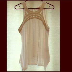White with Cream Crochet Embroidery Flowy Tank Top